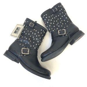 Frye 'Jenna Cut Stud' Moto Distressed Leather Boot